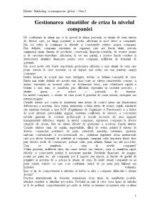 Gestionarea Situatiilor de Criza la Nivelul Companiei - Pagina 1