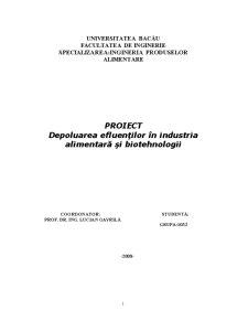 Depoluarea Efluenților în Industria Alimentară și Biotehnologii - Pagina 1