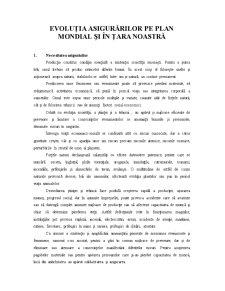 Evoluția Asigurărilor pe Plan Mondial și în Țara Noastră - Pagina 1
