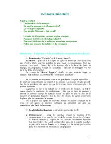 Economie Monetaire - Pagina 1