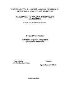 Biotehnologie - Metode de Asigurare a Limpiditatii - Pagina 1