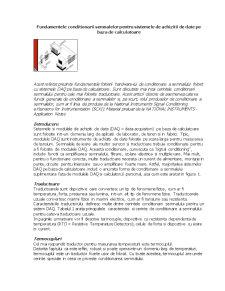 Fundamentele Conditionarii Semnalelor pentru Sistemele de Achizitii de Date pe Baza de Calculatoare - Pagina 1