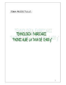 Tehnologia Fabricarii Painii Albe la Tava de 400 grame - Pagina 2