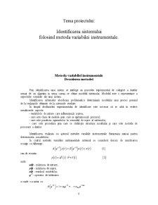 Identificarea Sistemului Folosind Metoda Variabilei Instrumentale - Pagina 1