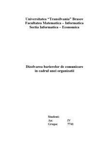 Dizolvarea Barierelor de Comunicare in Cadrul unei Organizatii - Pagina 1