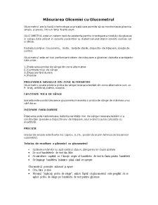 Măsurarea Glicemiei cu Glucometrul - Pagina 1
