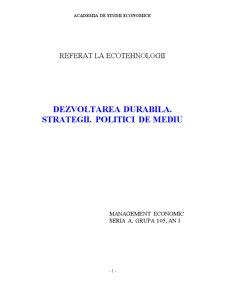 Dezvoltarea Durabila - Strategii - Politici de Mediu - Pagina 1
