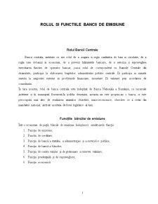 Rolul si Functiile Bancii de Emisiune - Pagina 1