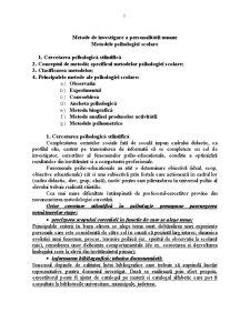 Metode de Investigare a Personalitatii Umane - Metodele Psihologiei Scolare - Pagina 1