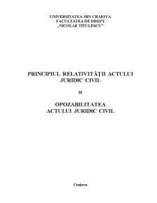 Principiul Relativității Actului Juridic Civil - Pagina 1