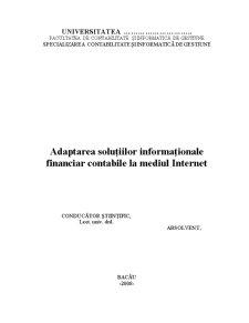 Adaptarea Soluțiilor Informaționale Financiar Contabile la Mediul Internet - Pagina 1