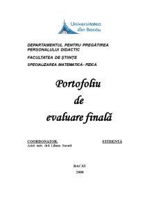 Portofoliu de Evaluare Finală - Pagina 1