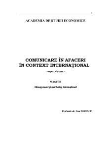 Comunicare în Afaceri în Context Internațional - Pagina 1