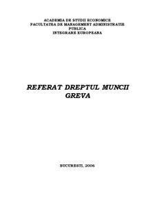 Referat Dreptul Muncii - Greva - Pagina 1