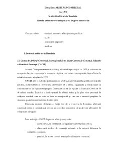 Institutii Arbitrale in Romania - Metode Alternative de Solutionare a Litigiilor Comerciale - Pagina 1