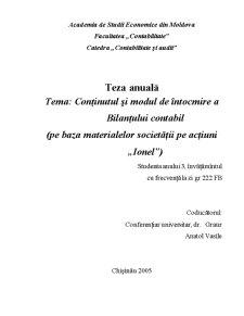 Conținutul și Modul de Întocmire a Bilanțului Contabil - Pagina 1