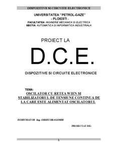 Proiect la Dispozitive și Circuite Electronice - Pagina 1