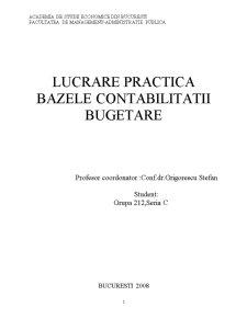 Lucrare Practica - Bazele Contabilitatii Bugetare - Local Agapia - Pagina 1
