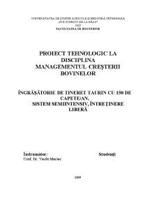 Proiect Tehnologic - Managementul Cresterii Bovinelor - Pagina 1