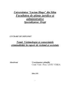 Victimologia și Consecințele Criminalității în Raport de Victimă și Societate - Pagina 1