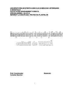 Managementul Integrat al Patogenilor si Daunatorilor Culturii de Varza - Pagina 1