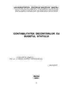 Contabilitatea Decontărilor cu Bugetul Statului - Pagina 1