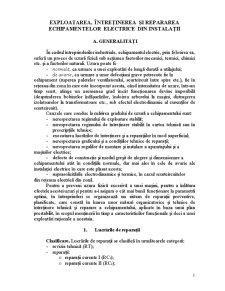 Exploatarea, Intretinerea si Repararea Echipamentelor Electrice din Instalatii - Pagina 1
