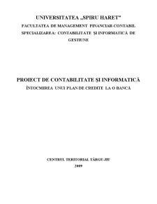 Proiect de Contabilitate si Informatica - Intocmirea unui Plan de Credite la o Banca - Pagina 1
