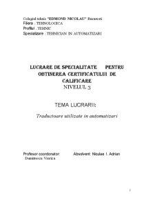 Traductoare Utilizate in Automatizari - Pagina 1