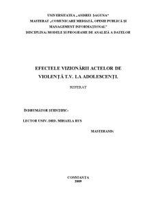 Televiziunea și Violența la Adolescenți - Pagina 1