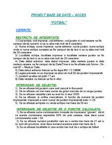 Fotbal - Baze de Date - Pagina 1