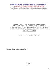 Analiza și Programarea Sistemelor Informatice de Gestiune - Pagina 1