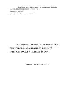 Recomandari privind Minimizarea - Riscurilor Modalitatilor de Plata Internationale Utilizate in BC - Pagina 1