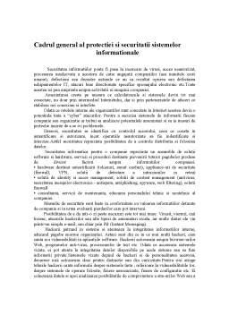 Referat - Cadrul General al Protectiei si Securitatii Sistemelor Informationale