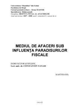Referat - Mediul de Afaceri sub Influența Paradisurilor Fiscale