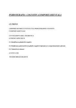 Referat - Psihoterapia Cognitiv-Comportamentala