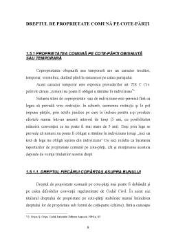Proiect - Dreptul de Proprietate Comună pe cote-părți