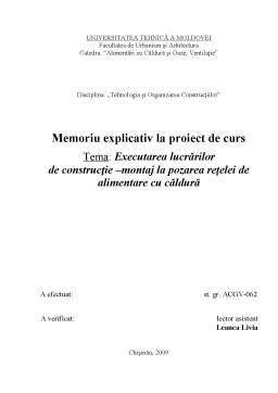 Proiect - Executarea Lucrarilor de Constructie - Montaj la Pozarea Retelei de Alimentare cu Caldura