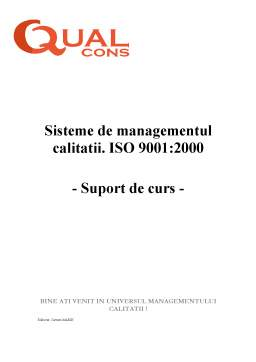 Curs - Sisteme de Managementul Calitatii - ISO 9001-2000