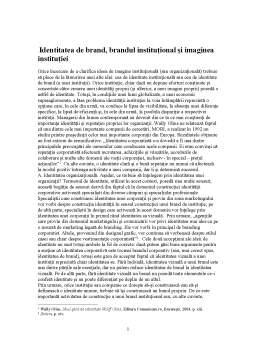 Referat - Identitatea de Brand, Brandul Institutional si Imaginea Institutiei
