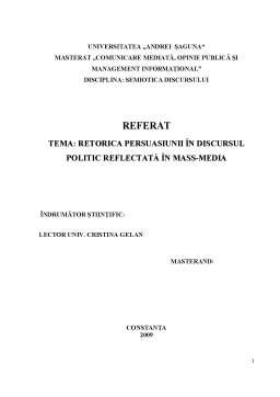 Proiect - Retorica Persuasiunii în Discursul Politic Reflectată în Mass-media