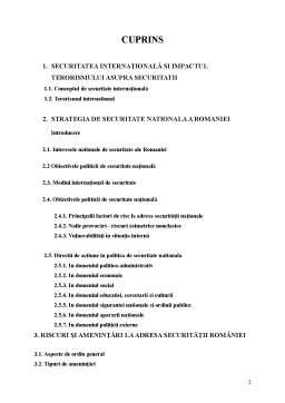 Proiect - Riscuri si Amenintari la Adresa Romaniei - Contributia Romaniei la Lupta Impotriva Terorismului