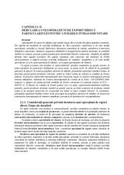 Curs - Derularea unei Operatiuni de Export Direct - Particularitati pentru Livrarile Intracomunitare