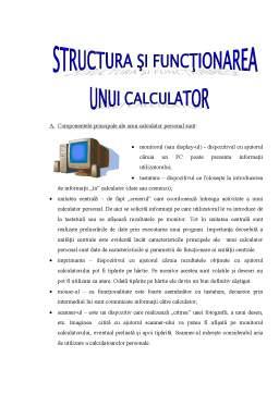 Referat - Structura si Functionarea unui Calculator