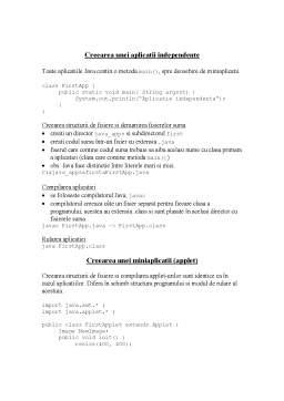 Curs - Crearea unei Aplicatii Independente in Java