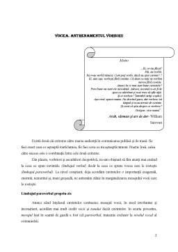 Referat - Limbajul Paraverbal - Vocea - Antrenamentul Vorbirii