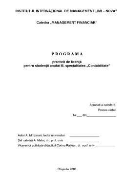 Curs - Programa Practica de Licenta