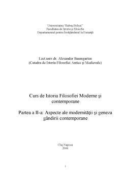 Curs - Istoria Filosofiei Moderne și Contemporane