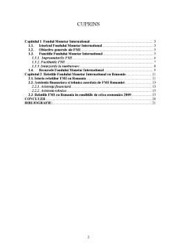 Proiect - Fondul Monetar International si Relatiile acestuia cu Romania