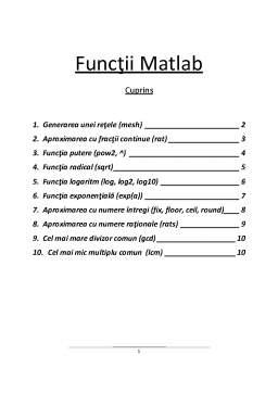 Curs - Funcții Matlab